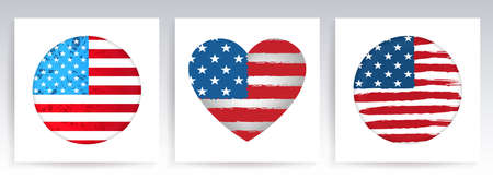 Heart and circle imprint, silhouette of the flag of America, festive design element, set.