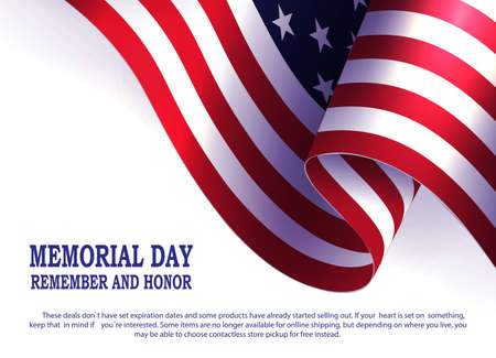 White composition with USA flag silhouette, design element, memorial day.