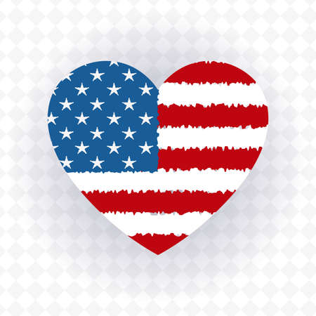 A heart-shaped badge with the outlines of the flag of America, a component of a festive design. 矢量图像