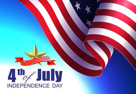 Festive illustration with USA flag element, design component, independence day. Vetores