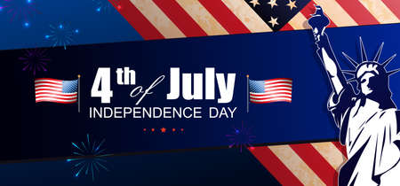 Blue composition with USA flag element, design component, statue silhouette, festive fireworks