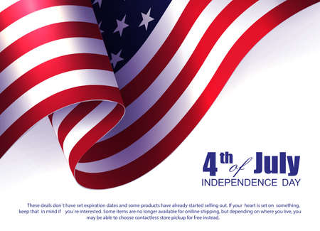 White illustration with USA flag element, design component, independence day.