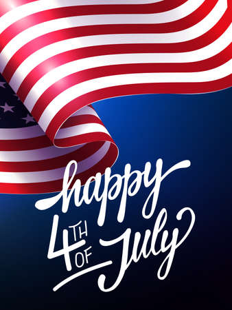 Blue illustration with silhouette of waving flag of America, independence day, design element.