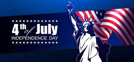 Blue dark composition with USA flag element, design component, statue silhouette. Vector Illustration