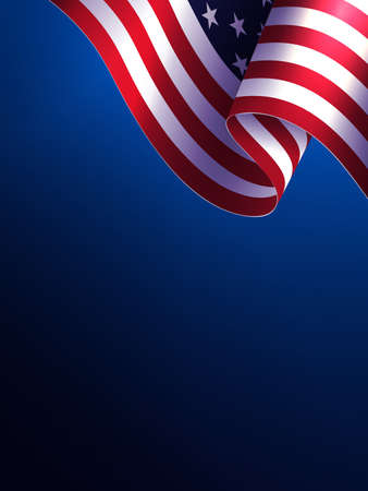 Composition with blue color gradient with flag of America, design element.
