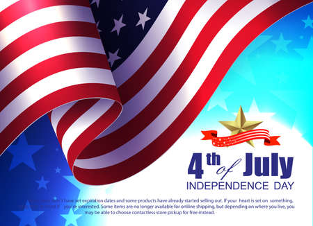 Festive illustration with USA flag element, many stars, design component, independence day. Vetores