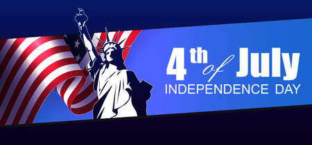 Festive blue illustration with abstract USA flag element, design component, statue silhouette, independence day. Vector Illustration