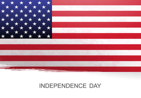 White illustration with silhouette of flag of America, memorial day. Vetores