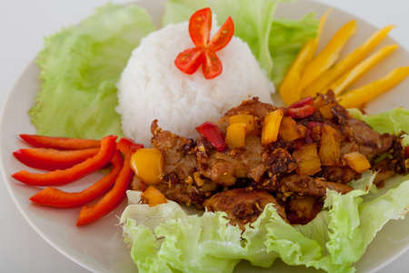 meat and rice on a plate decorated with slices of pepper photo