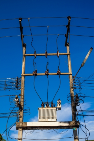 conductor electricity: electric pole with wires