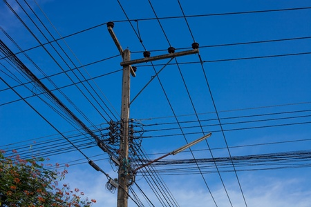 electric pole with wires Stock Photo - 15046465