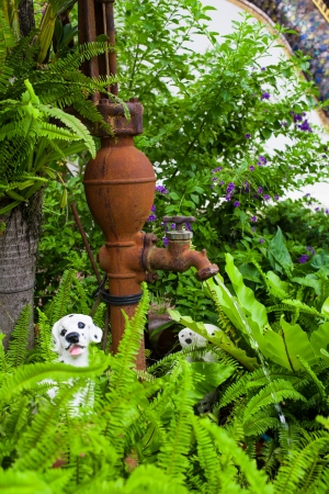 Old vintage water pump in the garden  photo
