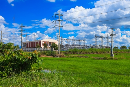 isolator insulator: Electric power station with poles cables and powerful transformers