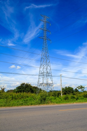 electricity pylon: electric pole with wires