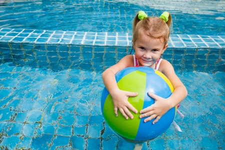 child ball: little girl in the pool with ball