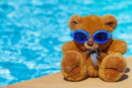 Teddy bear, a stuffed toy bear in the swimming pool