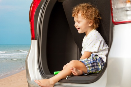 happy little  boy sitting in the car Stock Photo - 19061908