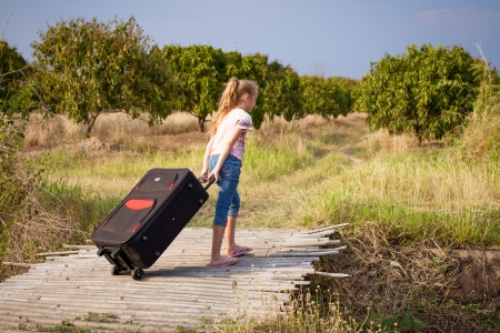 one little girl with suitcase on the road photo