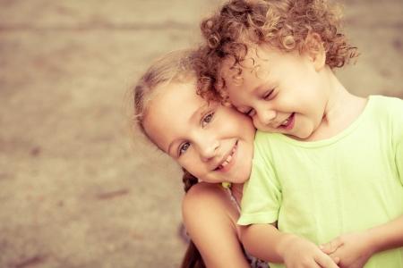 kids hugging: Brother And Sister Together Forever