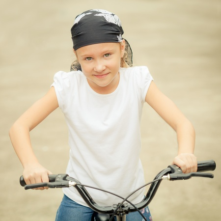 happy child on a bicycle photo