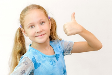 happy girl shows gesture cool