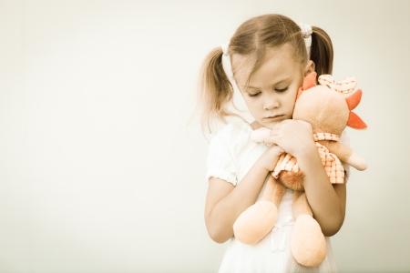 sad lonely girl: Portrait of sad child