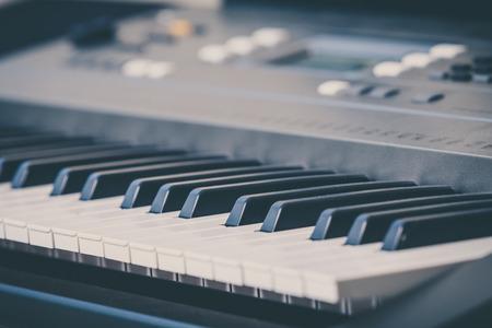 synthesizer: Electronic musical keyboard synthesizer close-up