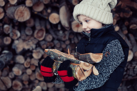 ax man: One little boy chopping firewood in the front yard at the day time. Kid having fun outdoors. Concept happy lifestyle.
