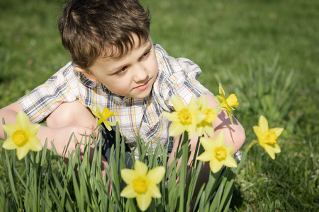 little one: One little boy sitting in the grass at the day time. Concept of happy spring.