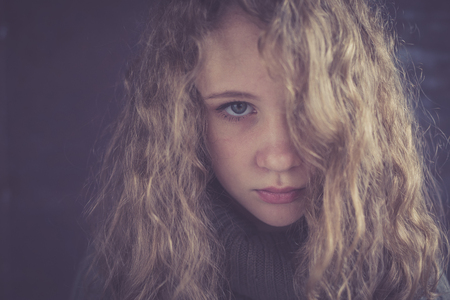 Portrait of a young sad girl. Concept of sarrow. Reklamní fotografie