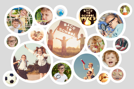 Collage of happy children playing outdoors at the day time. Concept of science and education. Stok Fotoğraf
