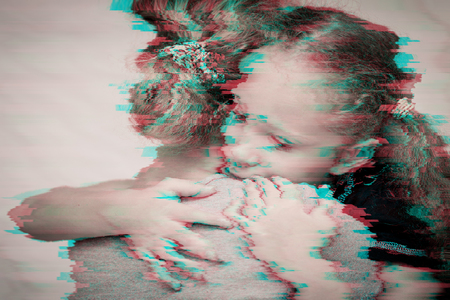 Portrait of a sad daughter hugging his mother. Concept of sadness. Glitched style photo.