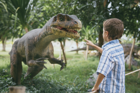 little boy playing in the adventure dino park. Concept of happy childhood.