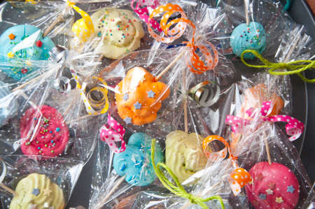 Wrapped candies with transparent cellophane background