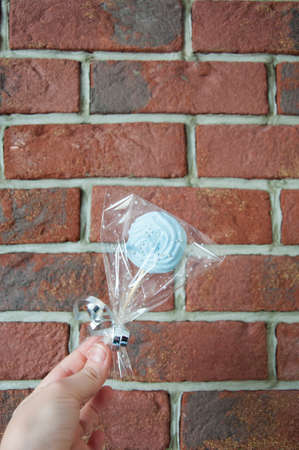 candy shop logo. meringue candy on stick in hand of girl on brick wall background, copy space