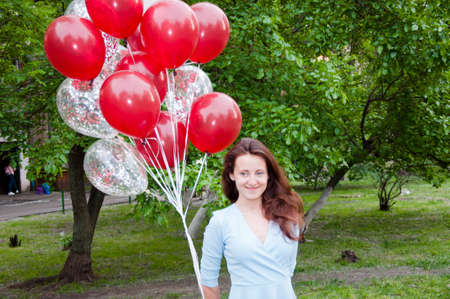 happy birthday. Ready for fun. happy woman with party birthday baloons outdoor in summer. Stock Photo - 103431407