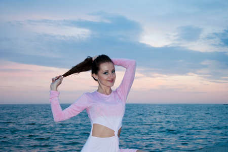 sunset sky. beach. sunset or sunrise nature with sensual woman in summer beach sea water