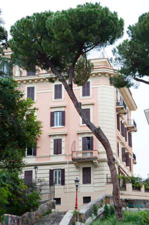 Italian stone pine tree near house in Rome city. Italian pine tree grow in mostly Rome. Rome architecture and nature of italian stone pine. travel to rome - italian city with building and stone pine. Stock Photo - 105307466