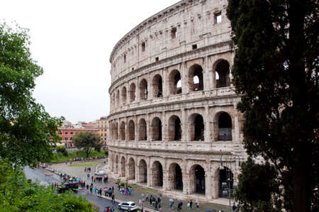 Rome city with great colosseum, Italy. Rome colosseo architecture in Italy. Travel to rome - capital of italy. Colosseum amphitheater in Rome, Italy. Roman holiday Stock Photo - 105307469