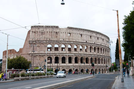 Rome, Italy - May 01, 2018: Colosseo amphitheater in Rome, Italy. Historical monument and ancient building architecture. Colosseo architecture - world wide architecture. Roman Colosseo. Colosseo.