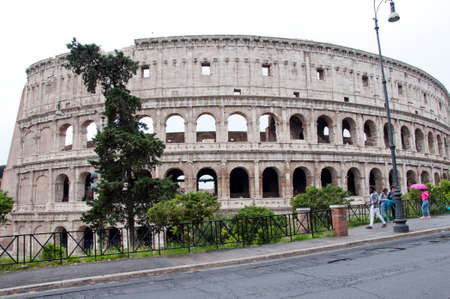 Rome, Italy - May 01, 2018: amphithheater coliseum in rome, Italy. majestic amphithheater building in world. world traveling and europe vacation. amphithheater. huge amphithheater colosseum Stock Photo - 104683126