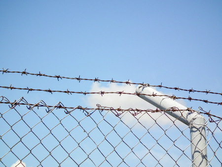 Metal barbed wire fence protection, blue sky, freedom
