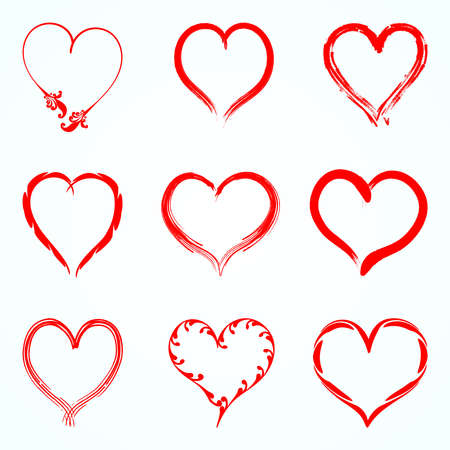 Set of red vector hearts from the outline of different brushes. Vector illustration EPS10.