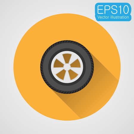 Wheel of a car flat icon. Vector eps10 illustration