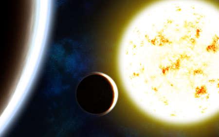Solar system. Sun, planets and nebulae. Image in 5K resolution for desktop wallpaper.