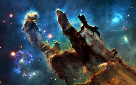 Deep space. Pillars of Creation and galaxies. Image in 5K resolution for desktop wallpaper.