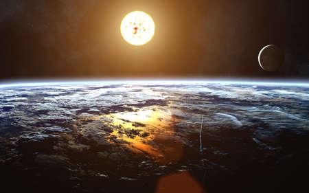 Cosmic landscape of Earth. Moon. Sun. Solar System. Image in 5K resolution for desktop wallpaper. Фото со стока