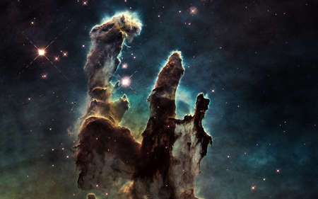 Pillars of Creation. Deep space. Abstract science fiction. Image in 5K for desktop wallpaper. Stockfoto