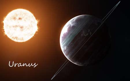 Uranus against background of Sun. Solar system. Abstract science fiction. Foto de archivo