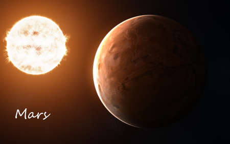 Mars against background of Sun. Solar system. Abstract science fiction.